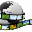 Earth wrapped in film with images - Stock Photo