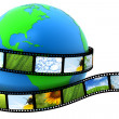Earth wrapped in film with images — Stock Photo