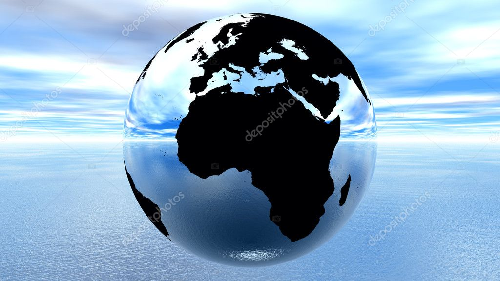 Chrome earth against blue sky on water — Stock Photo #10843121
