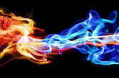 Red and blue smoke — Stock Photo