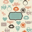 Retro love icons with banner - Stock Vector