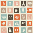 Stock Vector: Retro anatomical icons set