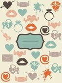 Retro love icons with banner — Stock Vector