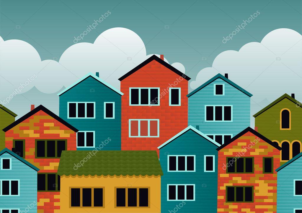 Рисунок с несколькими домами