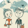 Постер, плакат: Lovely couple travelling cartoons