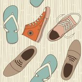Shoes Seamless background in retro colours — Vector de stock