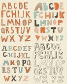 Alfabetos latinos funky — Vector de stock