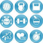Bola azul ícones esporte — Vetorial Stock