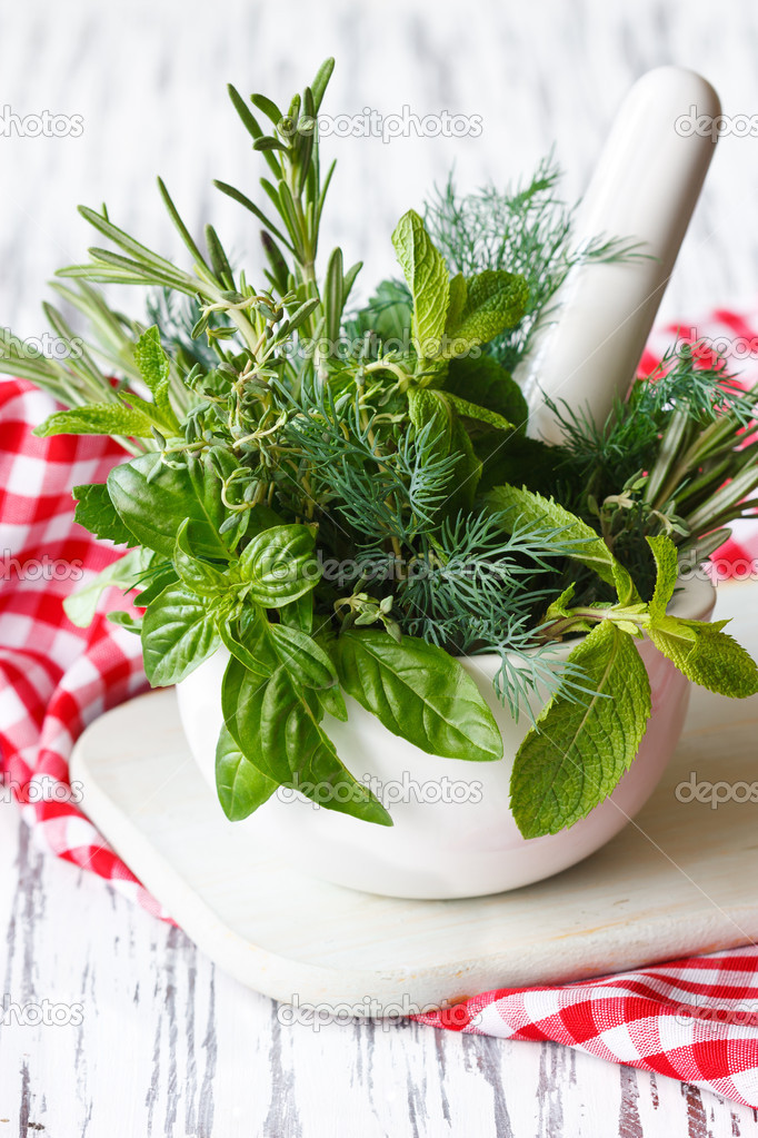 Spicy herbs in white ceramic mortar and pestle. — Stock Photo #11417166
