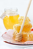 Honey and honeycombs. — Stock Photo