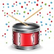 Drums with sticks and celebration mood — Stock Vector