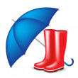 Red rubber boots with blue umbrella — Stock Vector