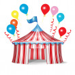 Stock Vector: Circus tent with celebration balloons