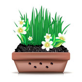 Garden clay pot and fresh grass with flowers — Stock Vector