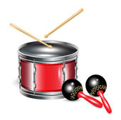Drums and maracas — Stock Vector