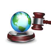 Judge gavel and earth globe — Stock Vector
