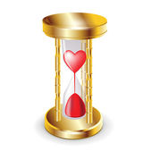 Golder hourglass and red heart — Stock Vector