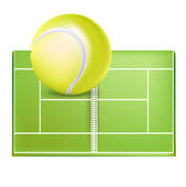 Tennis field and ball — Stock Vector