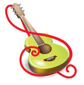 Acoustic guitar and clef symbol — Wektor stockowy