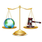 Golden scales with earth globe and gavel — Stock Vector