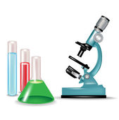 Microscope and chemical substances glass containers — Stock Vector