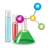 Abstracte moleculen en chemische stof containers — Stockvector