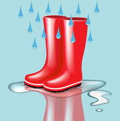 Red rubber boots with rain drops and splash — Stock Vector