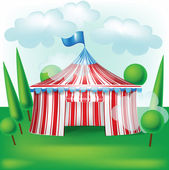 Circus tent on grass background — Stock Vector
