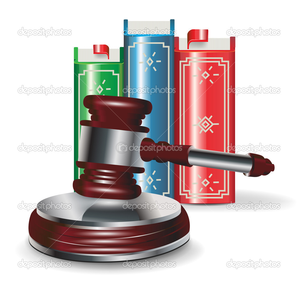 Judge gavel and book isolated on white — Stock Vector #11785237