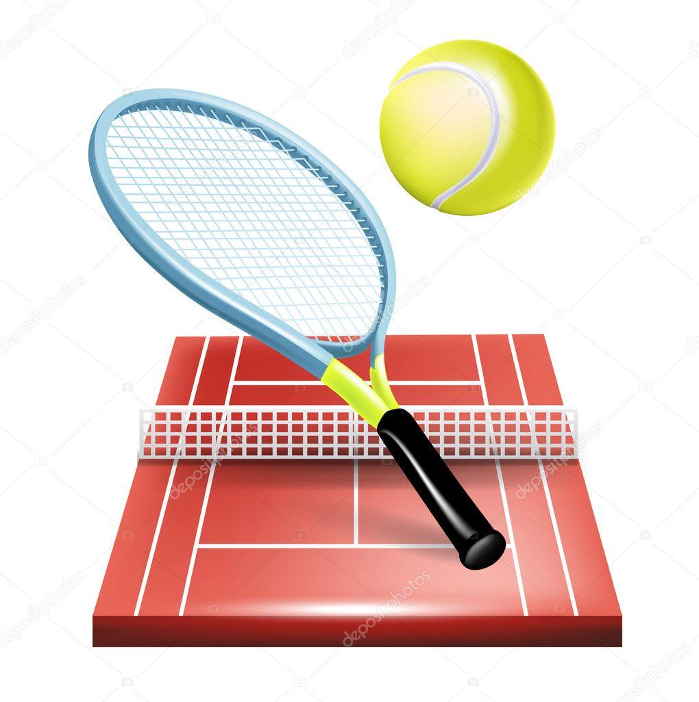 Court de tennis raquette et balle image vectorielle for Revetement court de tennis