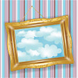 Stock Photo: Retro golden frame with clouds