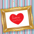 Retro golden frame with heart — Stock Photo