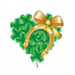 Horseshoe and heart made of four leaf clover — Stock Photo