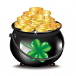 Golden coins in black pot and clover — Stock Photo #12393560