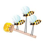 Louche en bois avec du miel, porté par trois abeilles — Photo