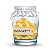Jar with coins; donation concept — Stock Photo