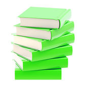 Stack of green glossy books isolated — Stock Photo