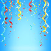 Ribbons and confetti colorful background — Stock Photo