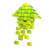 Pijlpictogram gemaakt van kubussen geïsoleerd — Stockfoto