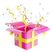 Holiday gift box with confetti and serpentine — Foto de Stock
