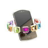 Mobile phone surrounded with applications — Stock Photo