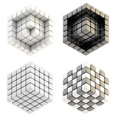 Set of four cube compositions isolated — Stock Photo