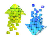 Arrow icons made of glossy cubes — Stock Photo