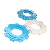 Set of three plastic blue linked cogwheels — Stock Photo