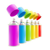 Rainbow colored spray oil color cylinders — Stock Photo
