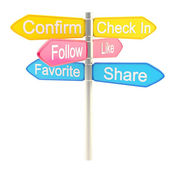 Social media roadsign signpost metaphor — Stock Photo