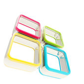 Four colored square glossy frame boxes — Stock Photo