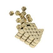 技術キューブ矢印黄金の紋章アイコン — ストック写真