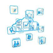 Mobile cloud technologie-anwendungssymbol — Stockfoto