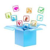 Mobile application icon inside a box — Stock Photo